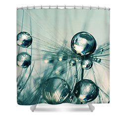 One Seed With Blue Drops Shower Curtain by Sharon Johnstone