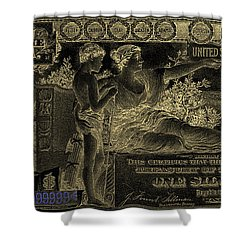 Shower Curtain featuring the digital art One U.s. Dollar Bill - 1896 Educational Series In Gold On Black  by Serge Averbukh