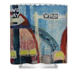 Shower Curtain featuring the painting One Way To 7th Street by Susan Stone