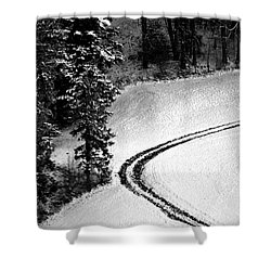 Shower Curtain featuring the photograph One Way - Winter In Switzerland by Susanne Van Hulst