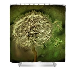Shower Curtain featuring the mixed media One Woman's Wish by Trish Tritz