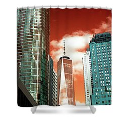 Shower Curtain featuring the photograph One World Trade Center Pop Art by John Rizzuto