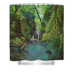 Shower Curtain featuring the painting Oneonta Gorge by Jeanette French