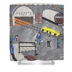 Shower Curtain featuring the painting Onieda Coal Mine by Jeffrey Koss