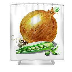 Onion And Peas Shower Curtain by Irina Sztukowski