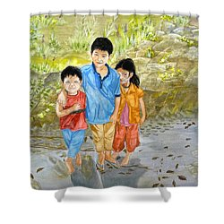Shower Curtain featuring the painting Onion Farm Children Bali Indonesia by Melly Terpening