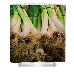 Onions 02 Shower Curtain by Wally Hampton