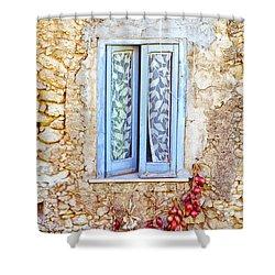 Onions And Garlic On Window Shower Curtain by Silvia Ganora