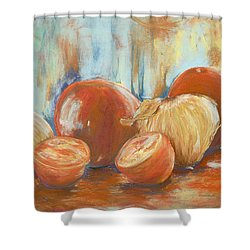 Onions And Tomatoes Shower Curtain by AnnaJo Vahle