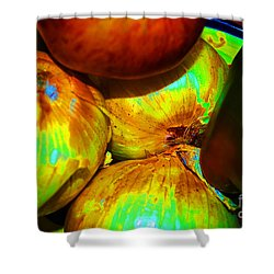 Onions Apples Pepper Closeup Shower Curtain