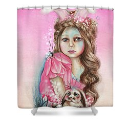 Only Friend In The World - Bunny Shower Curtain by Sheena Pike