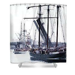 Shower Curtain featuring the photograph Oosterschelde Leaving Port by Stephen Mitchell