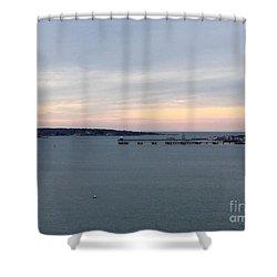 Opalescent January Sunrise On Casco Bay Shower Curtain by Patricia E Sundik