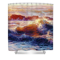 Shower Curtain featuring the painting Opalescent Sea by Steve Henderson