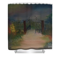 Shower Curtain featuring the painting Open Gate by Denise Tomasura