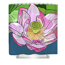 Open Lotus Shower Curtain