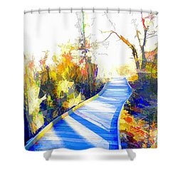 Open Pathway Meditative Space Shower Curtain by Robyn King
