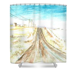 Shower Curtain featuring the painting Country Road by Andrew Gillette
