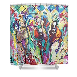 Opening Day In Del Mar Shower Curtain by Heather Roddy