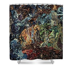 Shower Curtain featuring the mixed media Opening Of The Fifth Seal After El Greco by Joshua Redman