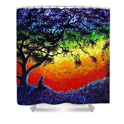 Opening The Chakras Meditation Shower Curtain by Laura Iverson