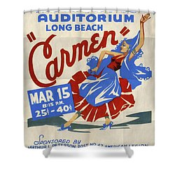 Opera Carmen In Long Beach - Vintage Poster Folded Shower Curtain