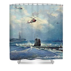 Operation Kama Shower Curtain by Valentin Alexandrovich Pechatin