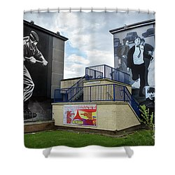Shower Curtain featuring the photograph Operation Motorman Mural In Derry by RicardMN Photography