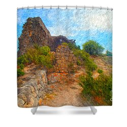 Opoul Castle Ruins Shower Curtain by Gerhardt Isringhaus