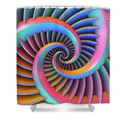 Opposing Spirals Shower Curtain