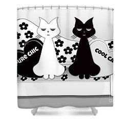 Opposites Attract - Black And White Cats On The Sofa Shower Curtain