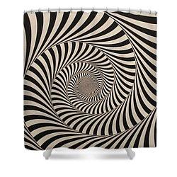 Optical Illusion Beige Swirl Shower Curtain by Sumit Mehndiratta