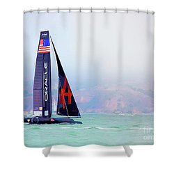 Oracles Usa  America's Cup Paint  Shower Curtain