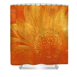 Shower Curtain featuring the digital art Orange Abstract Flower by Fine Art By Andrew David