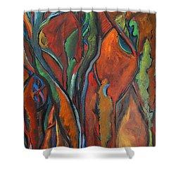 Orange Abstract Shower Curtain