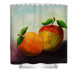 Apple And Orange Shower Curtain