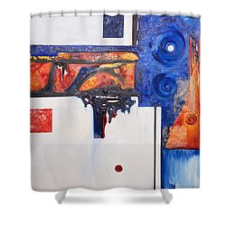 Orange And Blue Shower Curtain