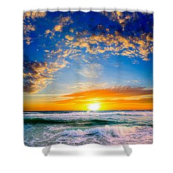 Orange And Blue Sunset Sun Setting Over The Ocean Shower Curtain by Eszra Tanner