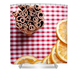 Orange And Cinnamon Shower Curtain by Nailia Schwarz
