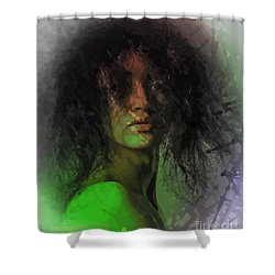 Orange And Green Shower Curtain by Moustafa Al Hatter