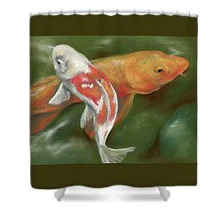 Shower Curtain featuring the pastel Orange And White Koi With Mossy Stones by MM Anderson