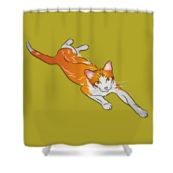 Orange And White Tabby Cat Shower Curtain by MM Anderson