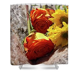 Orange And Yellow On Pink Granite Shower Curtain
