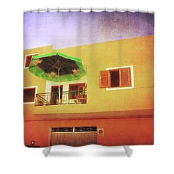Shower Curtain featuring the photograph Orange Apartment, Alcala by Anne Kotan