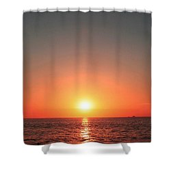 Orange Arched Sunset On Waves Shower Curtain by Ellen O'Reilly