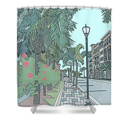 Shower Curtain featuring the digital art Orange Avenue by Megan Dirsa-DuBois