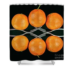 Orange Balance Shower Curtain by Shirley Mangini