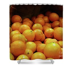 Orange Basket Shower Curtain by Methune Hively