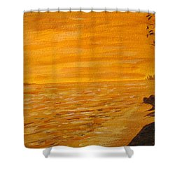 Shower Curtain featuring the painting Orange Beach by Ian  MacDonald