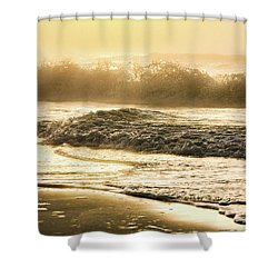 Shower Curtain featuring the photograph Orange Beach Sunrise With Wave by John McGraw